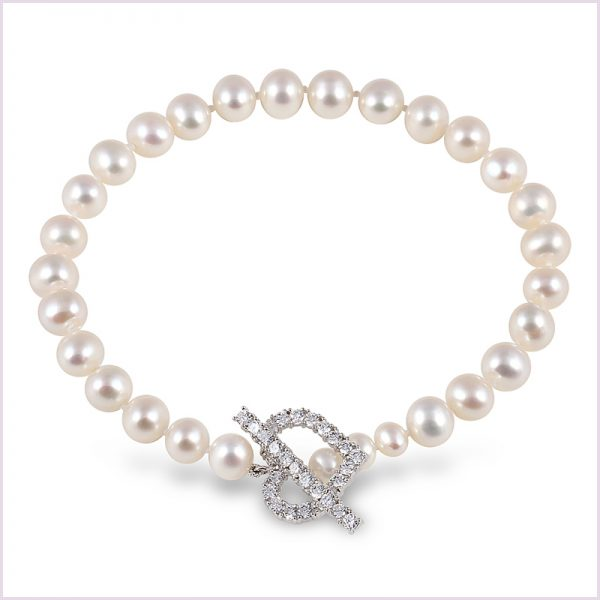 Kimura Pearls Freshwater Pearl and Cubic Zirconia Bracelet in Sterling Silver