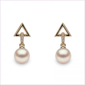 Freshwater Pearl and Diamond Earrings