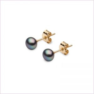 Euro Pearls Black Button Shaped Freshwater Pearl Stud Earrings