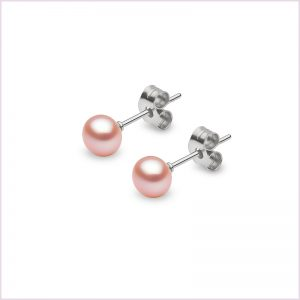 Euro Pearls Pink Button Shape Freshwater Pearl Stud Earrings