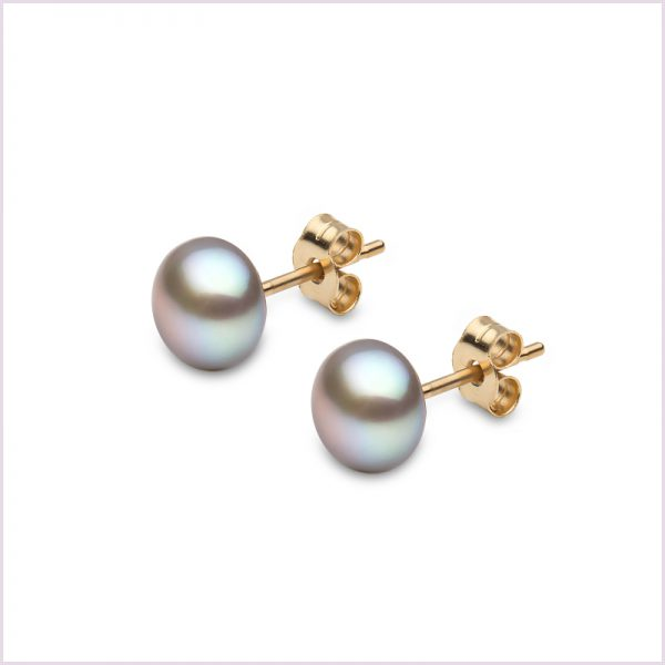 Euro Pearls Grey Button Shape Freshwater Pearl Stud Earrings